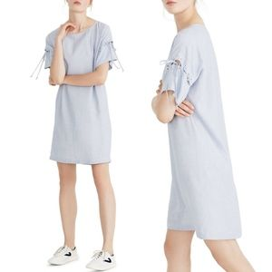 NEW Madewell Stripe Lace-Up Sleeve Dress Small